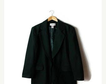 ON SALE Vintage Dark Green Wool Blazer/ Tailored Jacket from 1980's *
