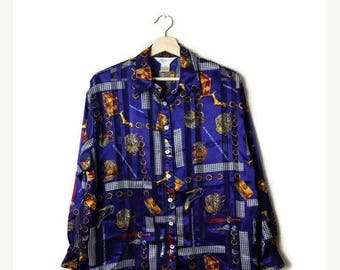 ON SALE Vintage Purple x Bags/Shoes printed Sheer Long sleeve Blouse from 90's*