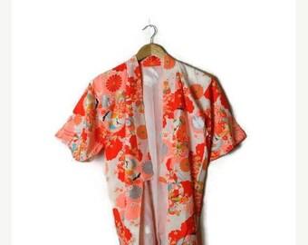 ON SALE Vintage Reddish Orange  Floral/Crane HAORI silky Kimono Cardigan from 80-90's