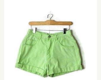 ON SALE Vintage Lime Green High Waist Denim Shorts/W26*