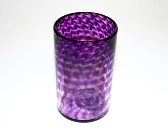 PURPLE DRINKING GLASS, Hand Blown Glass Tumbler, Blown Drinking Glasses, Hand Blown Glass Art, purple glass tumblers,purple drinking glasses