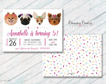 Dogs in Bows Custom Downloadable Birthday Invitation,Adopt a Dog Party Invite,Puppies Princess Girl 1st Birthday,Adopt a Pet,Digital File