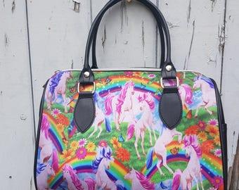 Unicorn & Rainbow Handbag - Pink Mystical Alternative Flower Bag Bowling