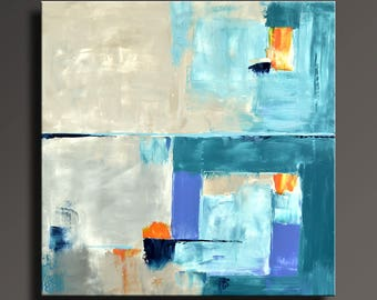 ABSTRACT PAINTING White Orange Blue Turquoise Gray Painting Original Canvas Art Abstract Modern Art 36x36 Wall Decor - Unstretched - 19Ci2