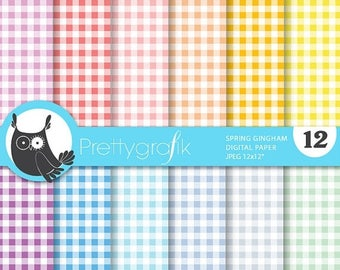 80% OFF SALE Spring gingham digital papers, commercial use, scrapbook papers, background - PS701