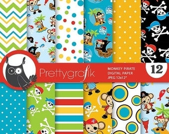 80% OFF SALE pirate monkey digital paper, monkey commercial use, pirate scrapbook papers, pirate monkey background - PS810