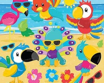 80% OFF SALE Tropical birds clipart commercial use, parrot vector graphics,flamingo digital clip art, digital images - CL880
