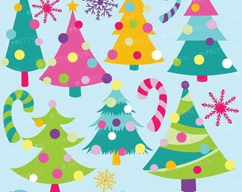 80% OFF SALE Christmas trees clipart commercial use, vector graphics, digital clip art, digital images  - CL594