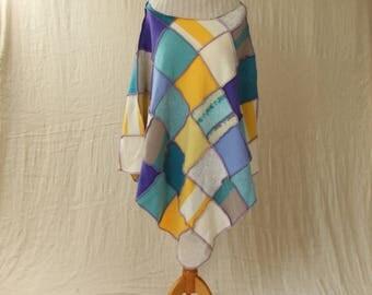 Upcycled Patchwork Poncho. Recycled Wool Knitwear. Cowl Neck, Medium. Purple Yellow Turquoise. Handmade UK OOAK Ethical Clothing. Ecofashion