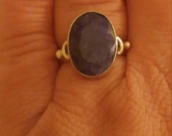 Vintage Sterling Silver Genuine Faceted Dark Blue  Sodalite Ring Size 7 1/2