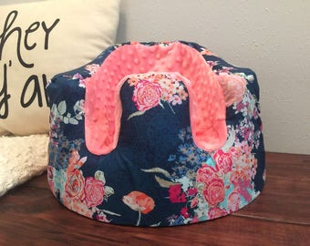 Navy and Coral Floral Bumbo Seat Cover