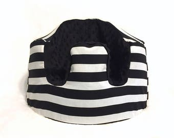 Black and White Stripe and Black Minky Bumbo Seat Cover
