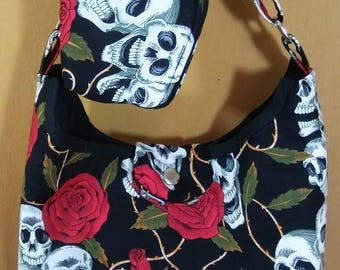 Red Roses and Skulls Crossbody bag with small pouch