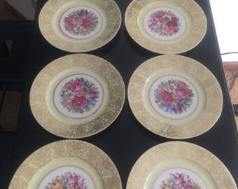 Gold floral china plates (8) by Tirschenreuth Bavaria *free shipping