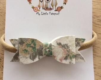 Floral faux suede - Nude nylon headband
