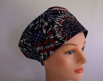 Flag Fireworks Rave or Mini Rave - Womens lined surgical  scrub cap or chemo hat, Bakers hat, 80+900b