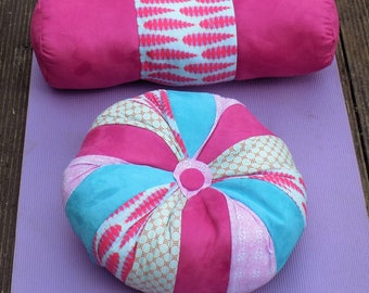 Pink and blue yoga set, zafu meditation/yoga cushion with bolster pillow, handcrafted and unique, made in the UK  - free UK postage