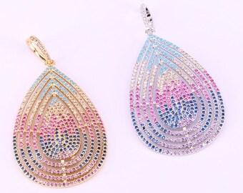 Micro Pave CZ Drop Pendant, Multicolor Cubic Zirconia Gold/Silver/ Color Women Jewelry  5Pcs