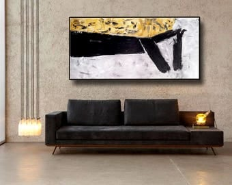 """72"""" Original Abstract Acrylic Painting Extra Large Gray Black Yellow Mustard White Wall Art Modern Art Decor UNSTRETCHED AUXXL021"""