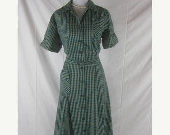 On sale Vtg 50s 60s Activi Tee Womens Vintage Green Plaid NWT NOS House Day Dress