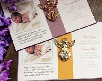 25 PC tarjetas de Recuerdo Bautizo bautismo rosa oro Angel Favor / Favor del bautizo tarjetas / Gracias cristal tarjetas de Rosario