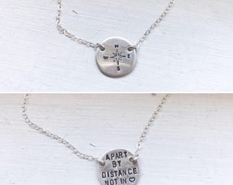 Compass necklace, coordinates, metal stamped, personalized, coin disc necklace, bridesmaid gift, long distance relationship, graduation gift