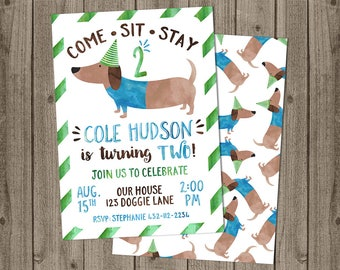 Dachshund Birthday Puppy Party - Puppy Paw-ty Invite - Double Sided Card - 5x7 JPG DIGITAL FILE (Front and Back Design)