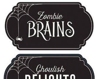 Halloween Cardstock Label Stickers | Halloween Labels | Halloween Party Food Labels | Chalkboard Style Halloween Food Labels