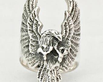 CUAUHTEMOC - DESCENDING EAGLE - Sterlings silver ring