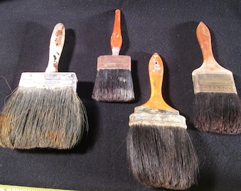 4 Old Paint Brushes / Vintage Paint Brushes