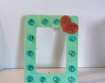 Embellished green heart and gem picture frame, 4 x 6, wood, hand painted