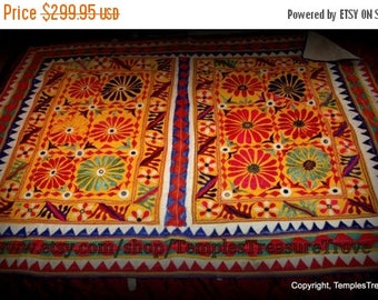 CIJ Vintage OOAK Rabari Tribal Embroidered Mirrored Patchwork Textile East Indian Wall Hanging Bed Cover Quilt Festival Gear Picnic Blanket