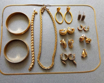 Monet Jewelry Mixed Lot, gold color, 5 pr Clip and 1 pr Pierced Earrings, 2 Chains, 3 Bracelets, 1 Boat pendant all Signed