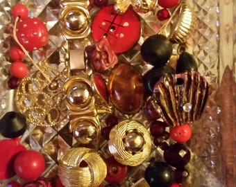 Vintage Red Black and Gold Mix Baubles Jewelry Destash Inspiration Upcycle Mix Lot
