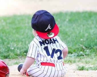 Boys Smash Cake Outfit, Baby Baseball Uniform, Boys Customized Baseball Uniform, Baby, Boys, Half Birthday, Team Mascott/MYSWEETCHICKAPEA