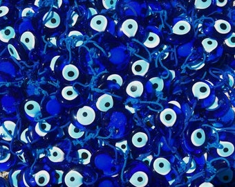 Bulk Set 25 1 1/4 Inch Blue Glass Turkish Evil Eye Good Luck Charm Greek Ornament Wholesale
