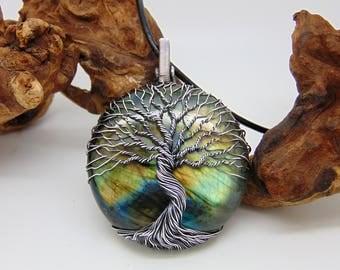 Labradorite Tree Of Life Pendant - Statement Necklace - Wire Wrapped Jewellery - Yggdrasil Pendant - World Tree - Norse Mythology