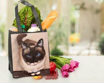 Printed Reuseable Grocery Bag of South Paw Satchel art work 2
