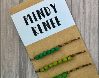 Green Bobby pins, Hairpins for Spring, St Patricks Day, Irish Accessory, Shamrock Green, Bobbie Pins,