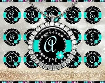 """Elegant Diamonds Teal Abcs Alphabet 2386 2387 - INSTANT DIGITAL DOWNLOAD - 1"""" Bottlecap Craft Images (4x6) Digital Collage Sheet"""