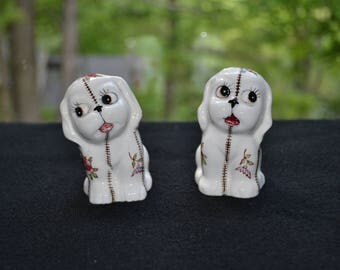 Vintage Porcelain Calico Dog Salt & Pepper Shakers- FREE SHIPPING USA