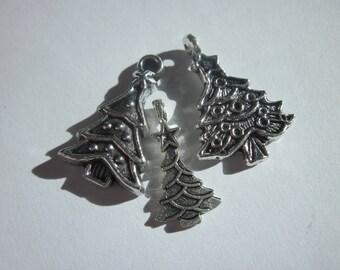 3 (6139B) silver metal tree charms