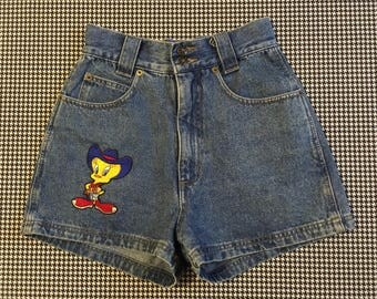 1994, high waist, Tweety Bird, cowboy, denim, shorts, Women's size 3