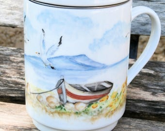 handpainted porcelain - Teapot with sieve teacup - boat summer beach - pale colors