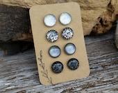 Choose Your Colors, Custom Set Glitter Studs Gift Box 4 Pair, Titanium Posts, Non-Allergenic, Super Sparkly Glitter Earrings, Sensitive Ears