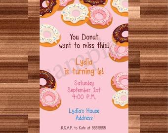 DIY Donut Birthday Party Invitation
