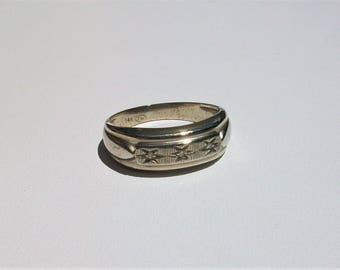 Vintage TW Tessler and Weiss 14k 3 gram Mens White Gold Diamond Ring Size 9-1/4