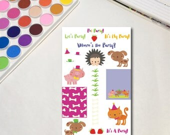 Pet Party Planner Sticker Sheets, The Ones for Parties,Celebrate Party Kids Animals