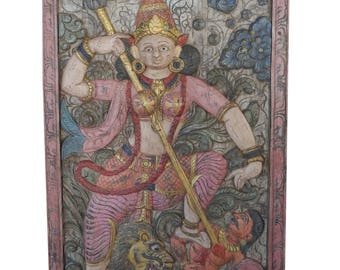 Antique Carving Goddess Wall Sculpture Maa Durga Hand Carved Wall Decor Mahishasur Mardini Meditation Yoga Shakti Door Panel FREE SHIP