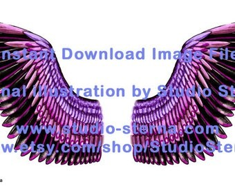 Drawing fantasy bird angel wing design feathers color 4 black pink watercolor instant download image file print cut make create dolls